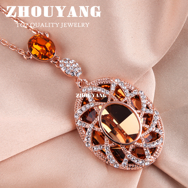 Top Quality ZYN004 Gold Love Necklace Rose Gold Color Fashion Pendant Jewelry Made with Austria Crystal Wholesale