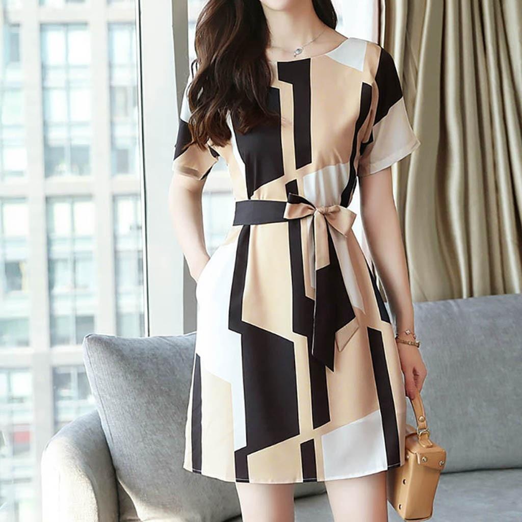 HTB149Jdarr1gK0jSZFDq6z9yVXaF Elegant party dresses women evening 2019 Women Fashion Summer O-Neck Knee Length Short Sleeve Bandage Printing Dress sukienka