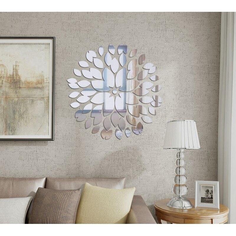 Creative Round Flower Petals 3d Acrylic Decorative Decals ...