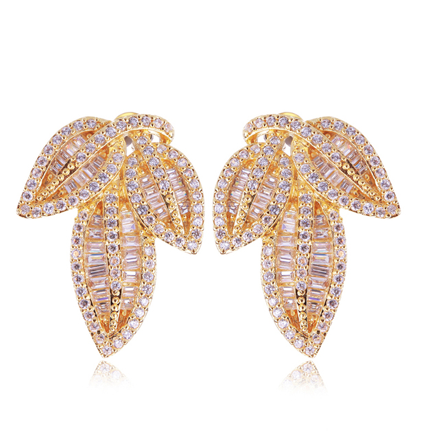 New Arrivals Classic Women Earrings Bridal Wedding Jewelry Leaf Shape Top Quality  Micro Pave Setting AAA Cubic Zirconia Crystal
