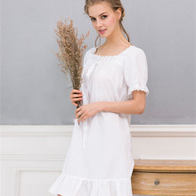 Summer Sleep Wear Night Shirt Home Dress White Cotton Nightgown Nightwear  Women Plus Size Sleepwear Plain 189512998