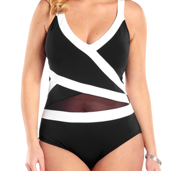 One Piece Swimwear Women Plus Size 6XL patchwork Black And White
