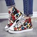 Камуфляж Холст Обувь Женщин Граффити Высокие Узелок Плоские Туфли Slip-на Студентов Simple Все Матч Квартиры Повседневная Обувь Плюс Размер 40