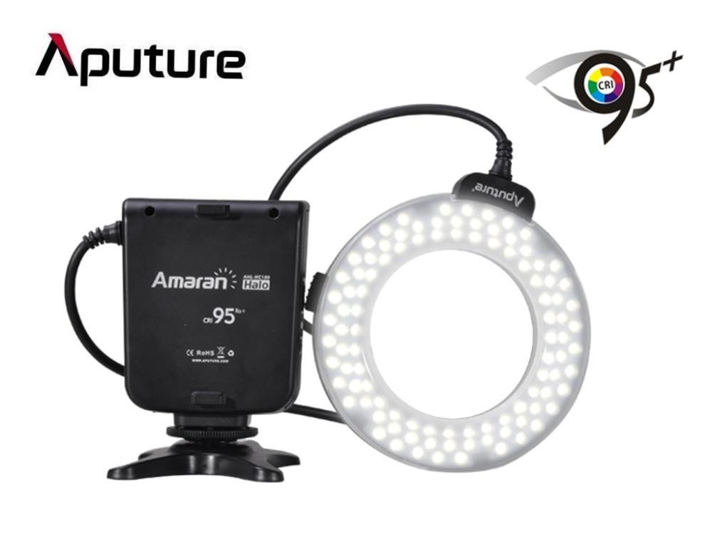Aputure AHL-HC100 CRI 95+ Amaran Halo LED Ring Flash Light Speedlight for Canon EOS 7D 6D 50D 5D Mark II III 700D DSLR Camera aputure amaran hn100 cri 95 halo ring 6w 1020lm 5500k 100 led flash lamp for nikon cameras black