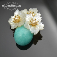 XlentAg Natural Stone Amazonite Brooch Pin For Women Mother Of Pearl Flower Brooches Accessories Dual Use Luxury Jewelry GO0158