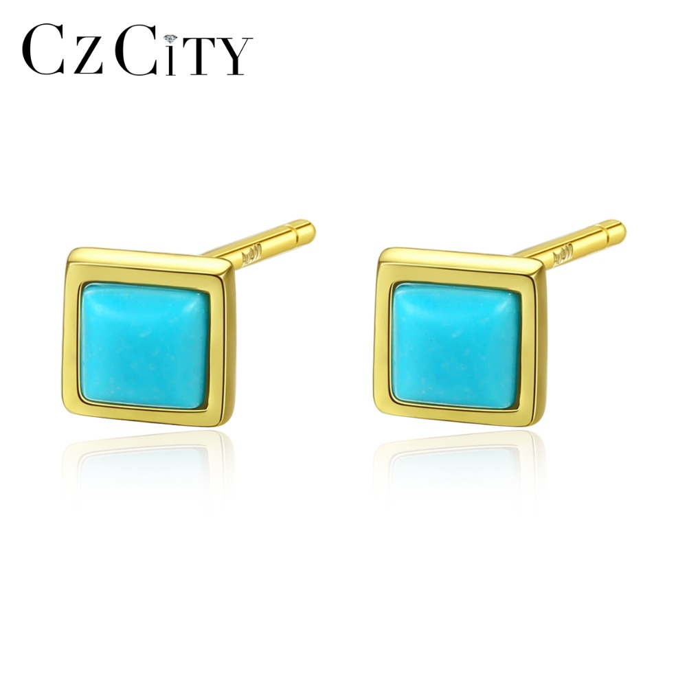 CZCITY Real 925 Sterling Silver Small Stud Earrings For Women Lovely Square Turquoise Earrings Female Dating Jewelry Carving 925