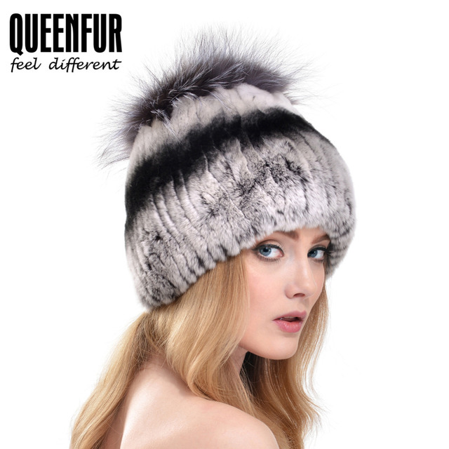 QUEENFUR Winter Super Elasticity Beanie 2016 New Real Knitted Rex Rabbit Fur Cap With Silver Fox Fur Pompom Top Hat Women