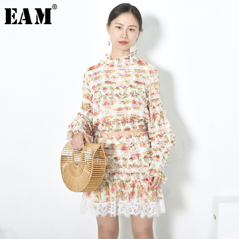 [EAM] 2018 New Summer High Collar Long Sleeve Flower Printed Lace Stitch Half-body Skirt Two Piece Suit Women Fashion JG147 все цены