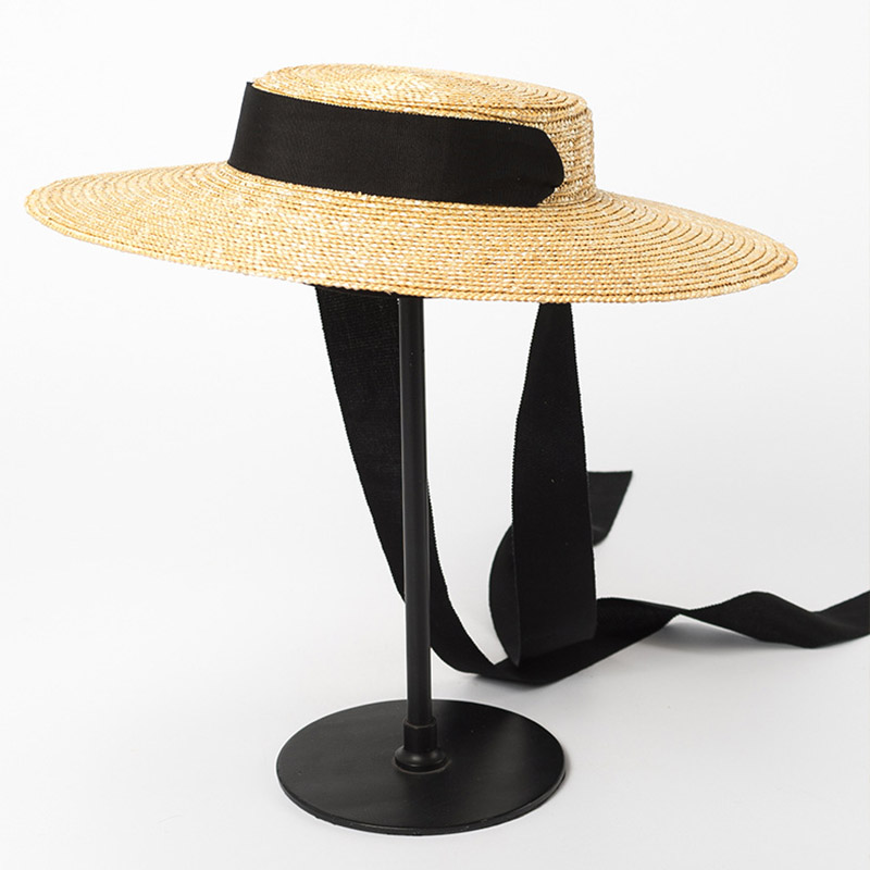 68cc9b469 2019 Wide Brim Boater Hat 10cm 15cm Brim Straw Hat Flat Women Summer White  Black Ribbon Tie Sun Beach Cap