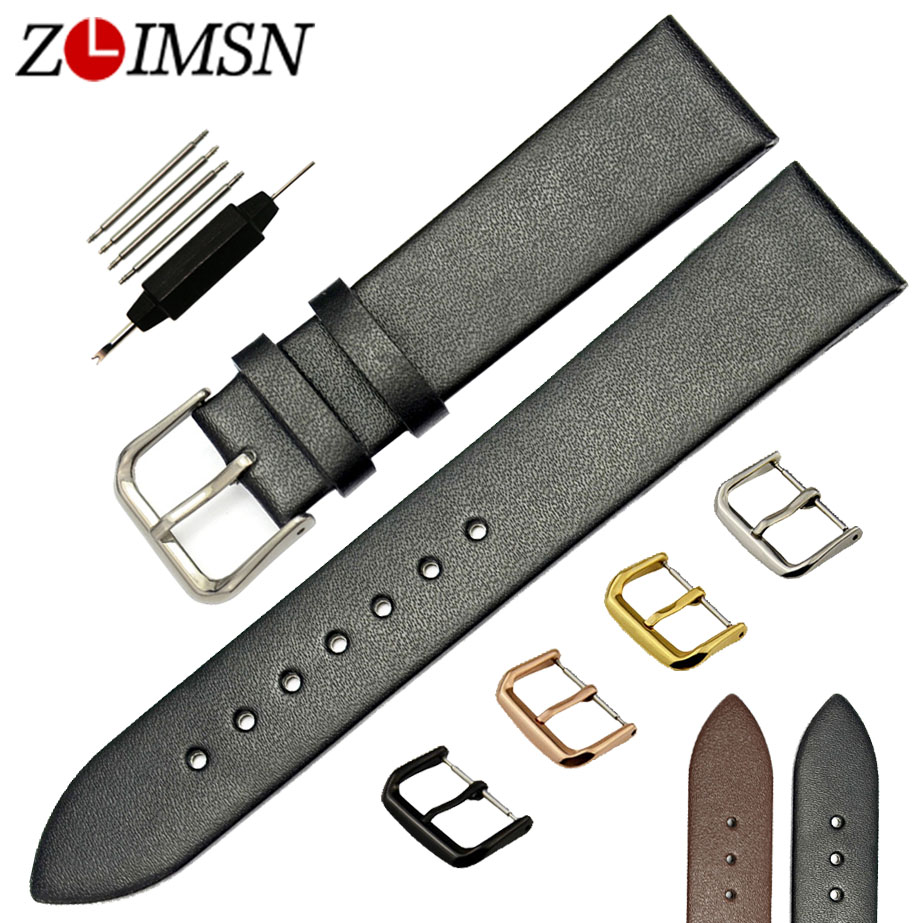 ZLIMSN 18 20 22mm Soft Smooth Thin Genuine Leather Watchbands Brown Black Watch Strap Men Women Stainless Steel Buckle Polished мойка кухонная florentina сардиния бежевый