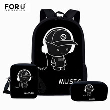 FORUDESIGNS Schoolbag Backpack Luminous Cartoon Printed Fashion School Bag for Teenage Girls Kawaii Kids Book Bags