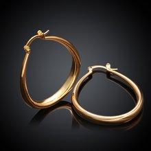 Акция модные овальные серьги золотого цвета для женщин и девушек