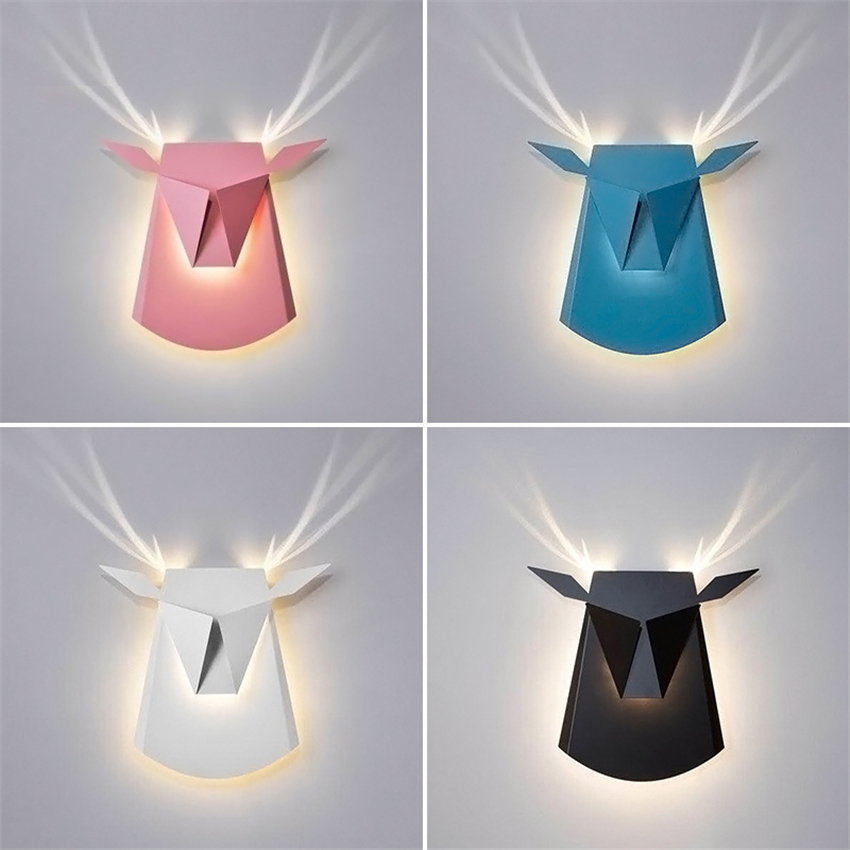 Nordic голова оленя светодио дный Бра Творческий Гостиная Спальня Прихожая Коридор американские рога Настенные светильники
