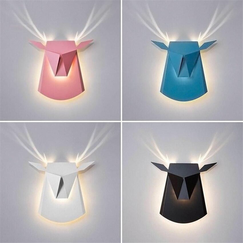Nordique Cerfs Tête LED Mur Lampes Créative Salon Chambre Couloir Couloir Américain Bois Appliques Murales Luminaires Luminaire