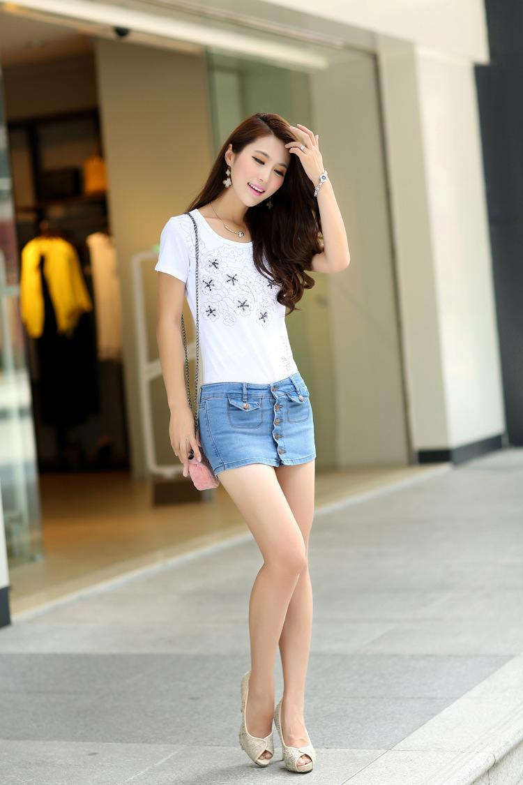 0f3726e3f9 new sale 2014 fashion tops for women ladies girls casual summer clothes  clothing sexy short jeans skirt female womens F57-in Skirts from Women s  Clothing on ...