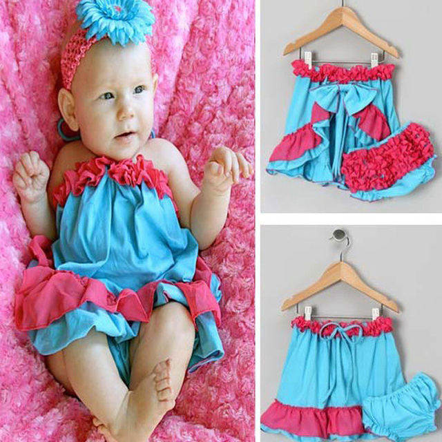 Baby Girls Clothing Set 2017 Summer Style Halter Tops+PP Pants 2pcs Kids Baby Clothes Fashion Kawaii Little Girl Clothing Sets