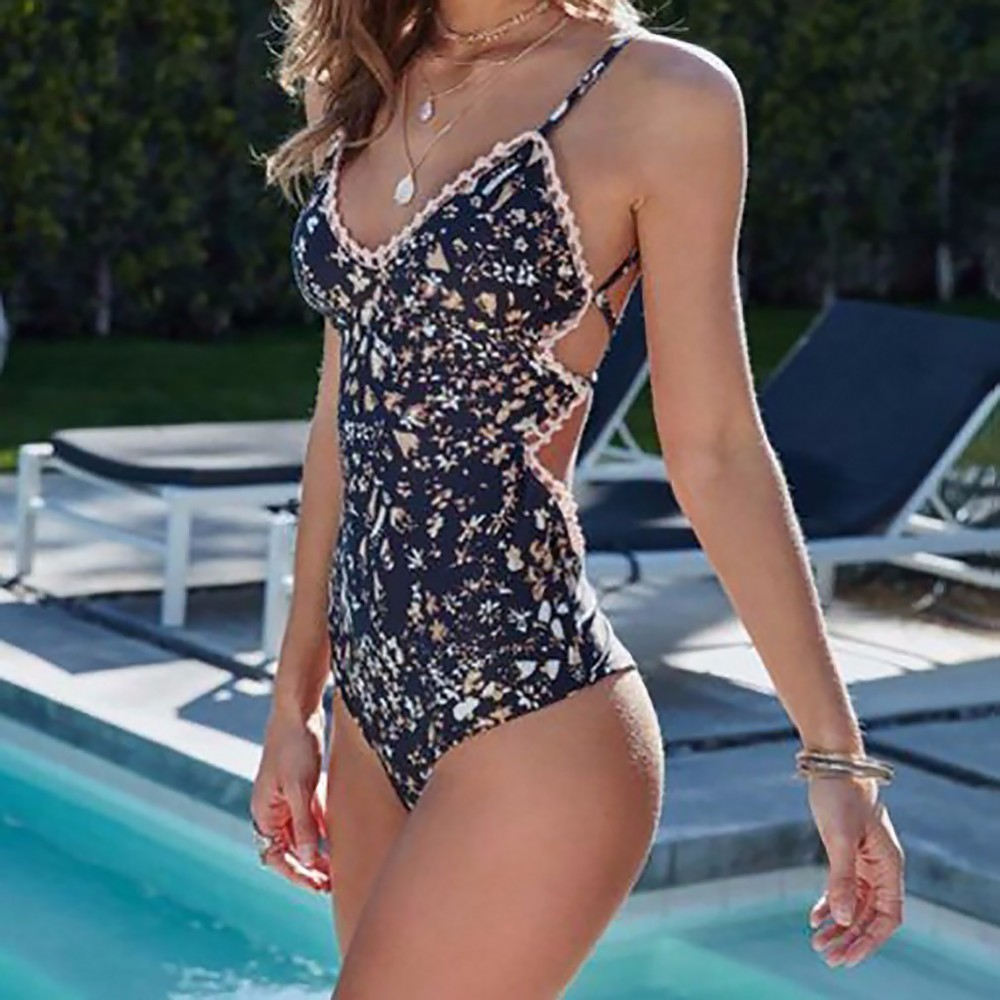 2018 Women One Piece Swimsuit Flower Print Swimwear Sexy Push Up Backless Swim One-piece Monokini Bandage Bathing Suit Beachwear tropical print piping one piece swimsuit