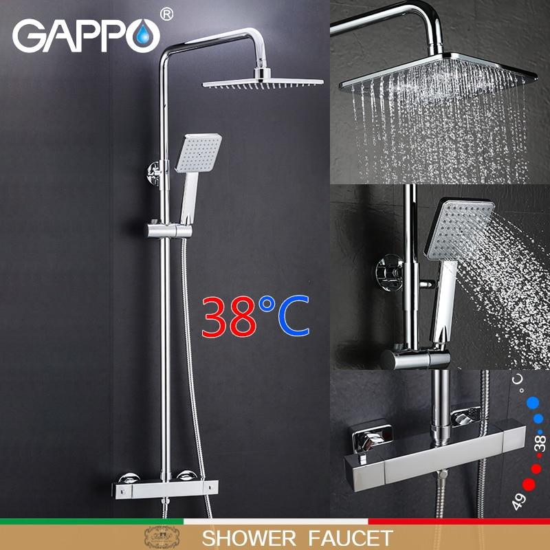 GAPPO système de douche salle de bains thermostat robinet douche robinet mitigeur cascade mural mitigeur de douche thermostatique