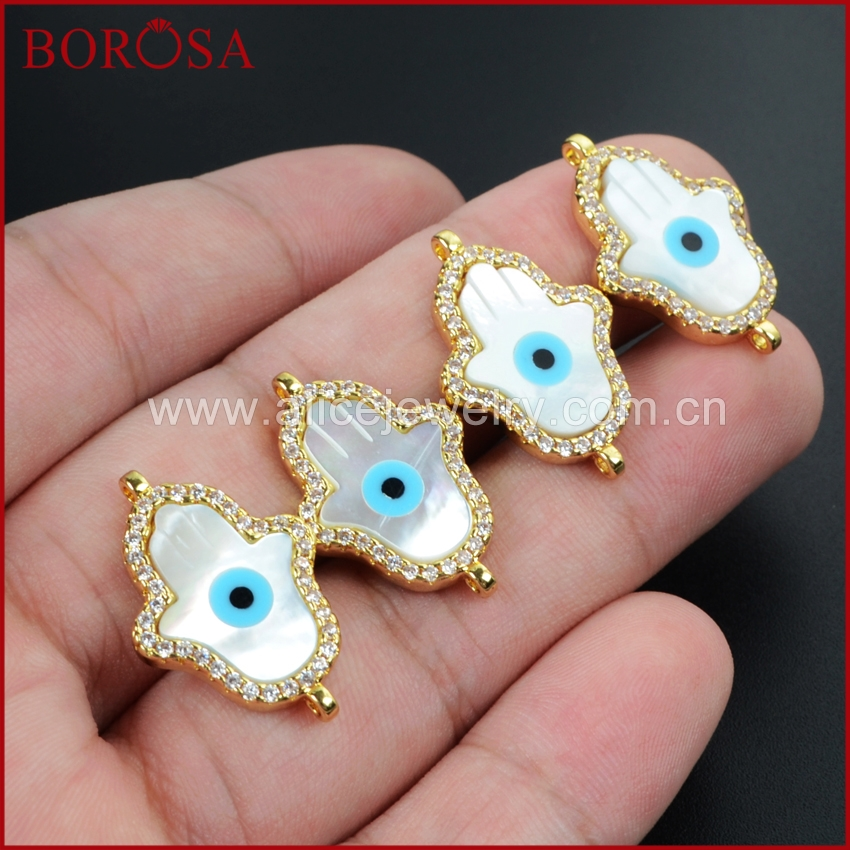 BOROSA White Shell Hamsa Hand Pave CZ Cubic Zirconia Evil Eye Gold Connector for Bracelet Double Charm Jewlery Making WX025
