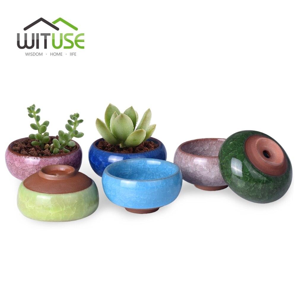 wituse cute ice crack bonsai ceramic flower pot succulent