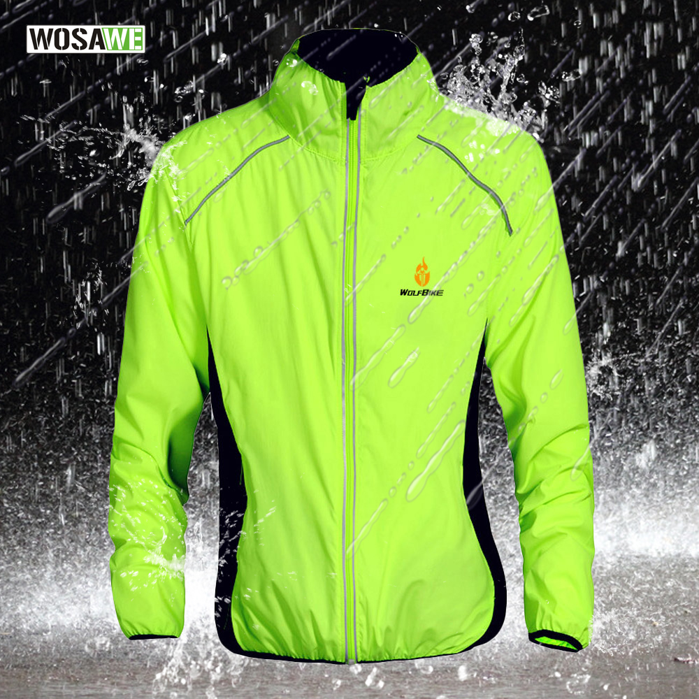 WOSAWE Breathable Reflective Cycling Jersey Long UV Protect Jacket Windproof Bike Riding Running Outer Wear Wind Coat Green