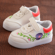 Children Sneakers Led Embroidery Canvas Shoes for Kids Boys Girls Football Sport flower Print Boots Casual Sneaker