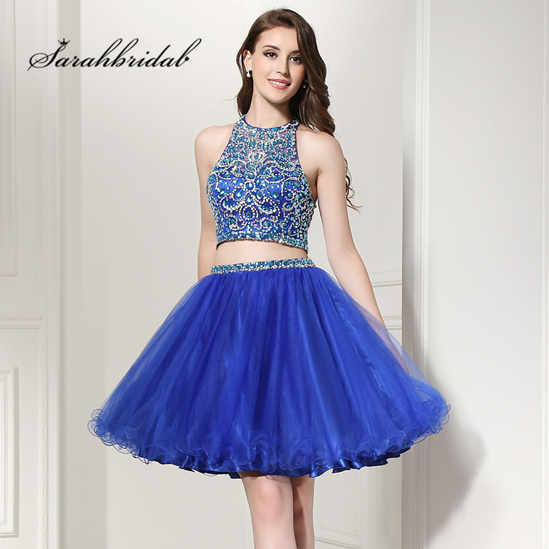 Sexy Charming Short Cocktail Dresses Halter Tulle Sleeveless A Line Backless Prom Party Gowns Mini Crystal