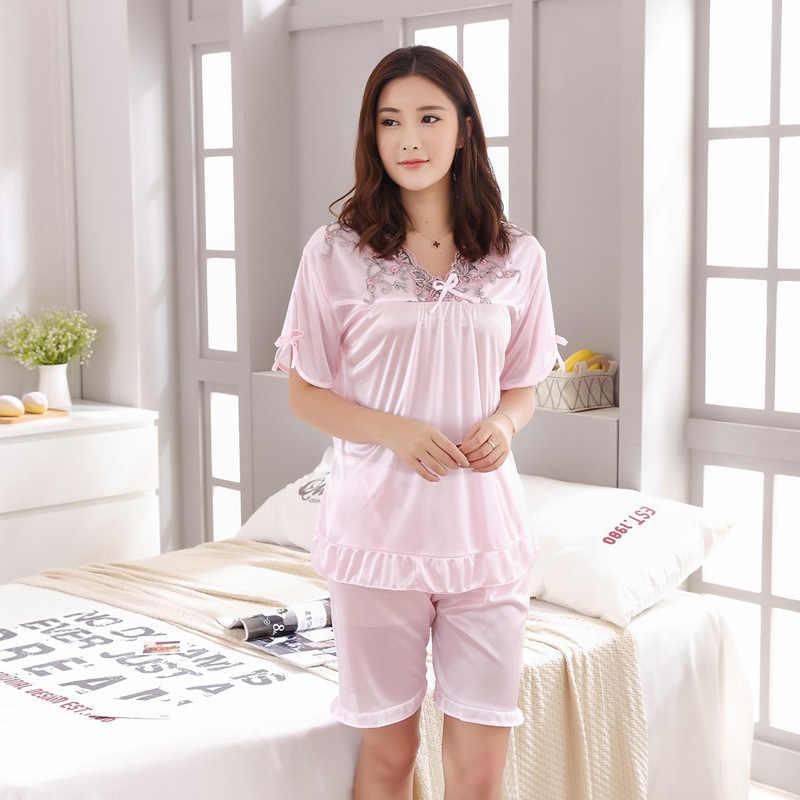 fe723c6d7a Women Sexy Silk Satin Pajama Set Lace Pyjama Set Sleeveless Pijama Set  Embroidery V-neck