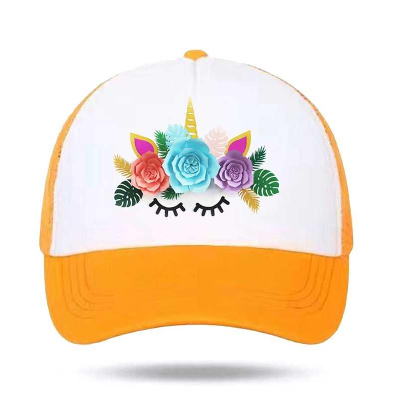 TCJX Mesh Baseball Hats Girls Unicorn Standing On Rainbow Classic Adjustable
