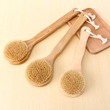 Natural Bristle brush Long Anti-slip Handle Wooden Body back