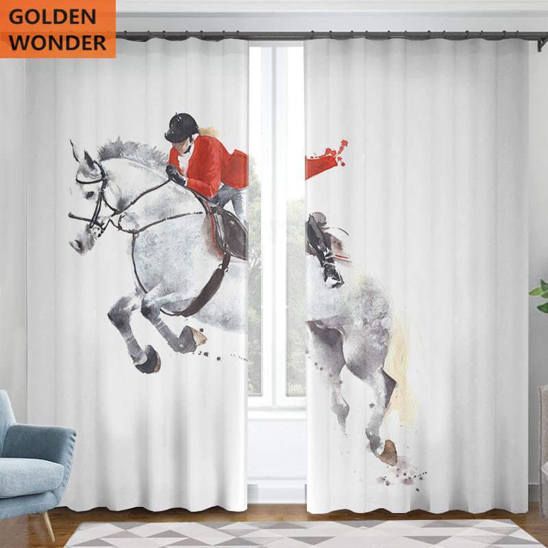 Rideaux modernes pour salon couleur blanche cheval course demi ombrage sur mesure