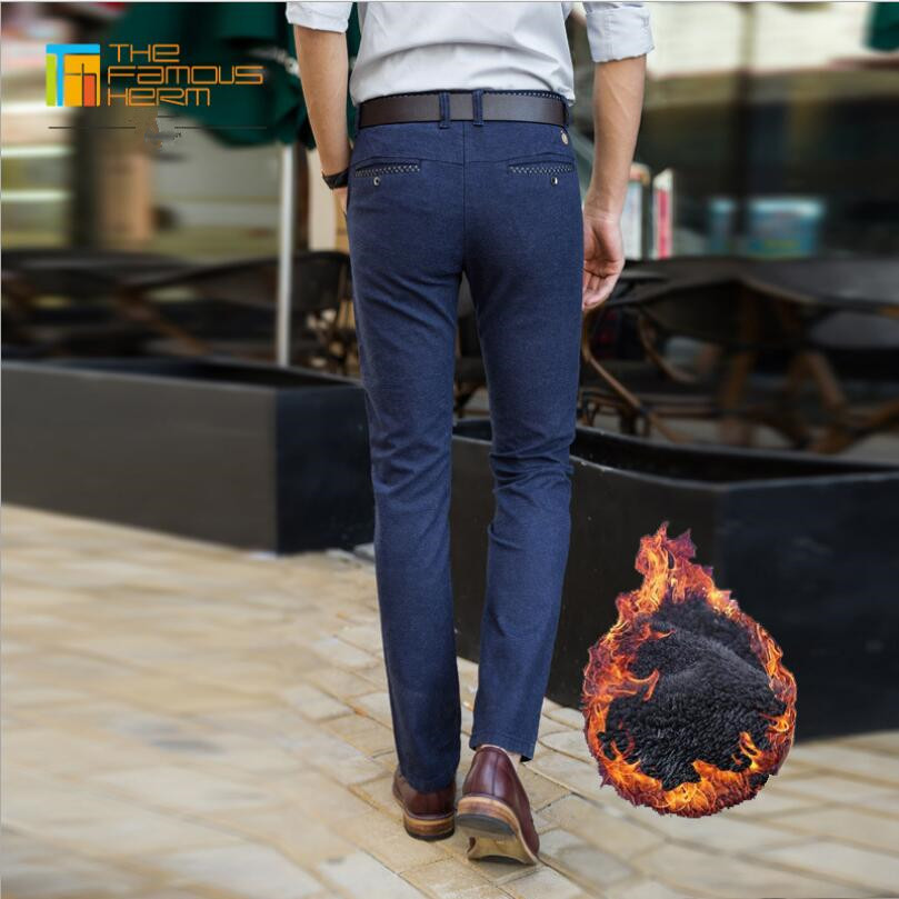 2019 Aristocratic Blue Warm Men's Trouser Solid lining Velvet Slim Fit business pants Male Elastic Pants Fashion Straight type