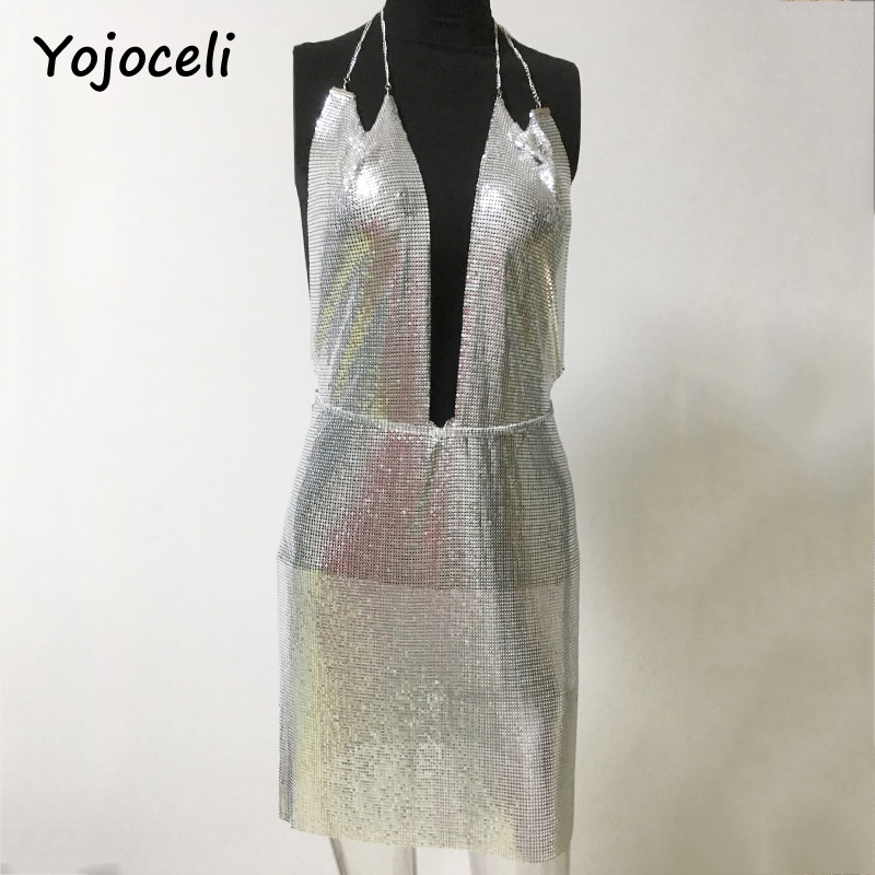 Yojoceli sexy birthday party metal sequins dress women deep v neck dress sexy 2017 party club