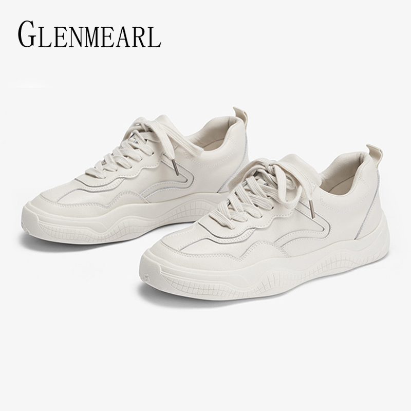 Leather Women Sneakers White Shoes Platform Lace Up Woman Casual Shoes Thick Heels Spring Autumn Female Flats Plus SizeLeather Women Sneakers White Shoes Platform Lace Up Woman Casual Shoes Thick Heels Spring Autumn Female Flats Plus Size