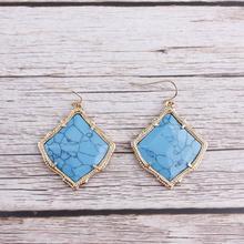 Настоящие натуральные полудрагоценные камни квадратные серьги-капли Kyrie для женщин серьги-капли из ракушки ювелирные изделия