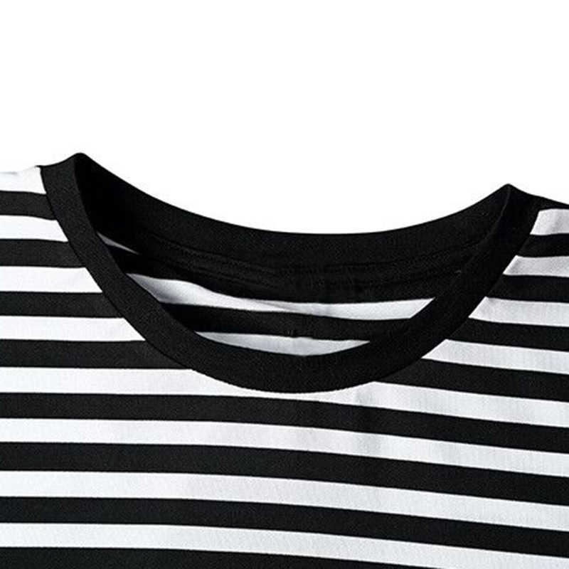 Aelfric Eden mannen Mode Zwart Wit T-shirt Casual Gestreepte Lange Mouwen T-shirt Mannen Punisher Basic Gestreepte Tees Shirts SNL090