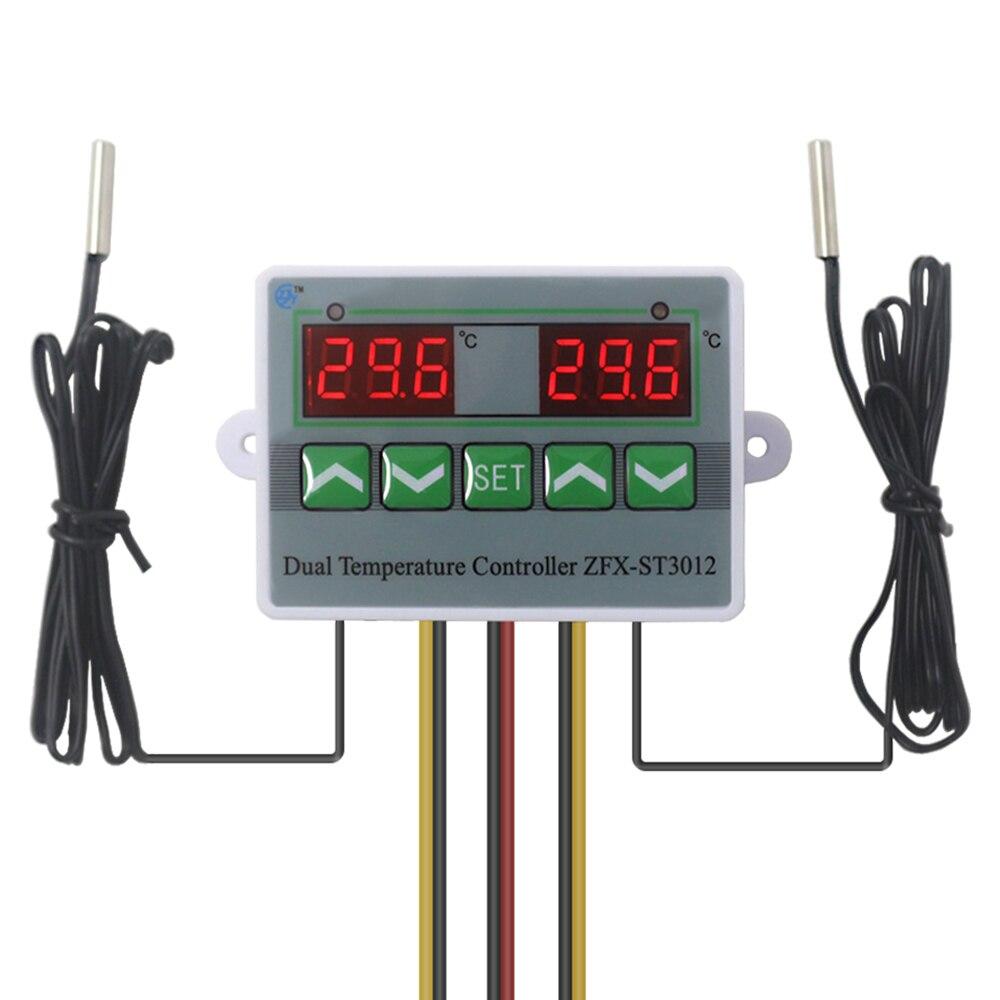 Incubadora controlador inteligente Digital Dual controlador de temperatura termostato regulador del regulador de temperatura Interruptor de Sensor Dual