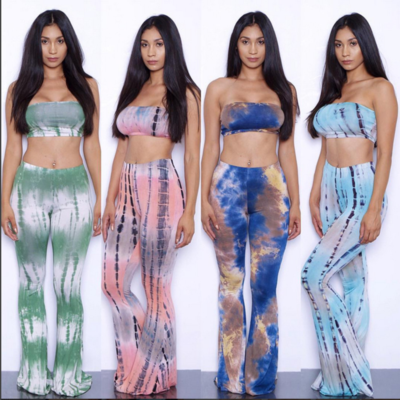 1f1efd66d1b Summer Strapless Crop Top Flare Pant Overalls Gradient Tie Dye Print Women  American 2 Piece Set Jumpsuit Plus Size Rompers XXL