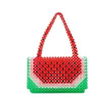 Perlas mano Mini rojo grande Mujer con cuentas sandía totalizadores bolso de las mujeres del partido verano playa bolsas Fahion señoras bolsos(China)