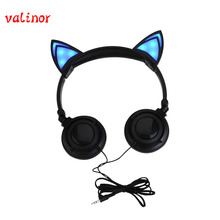Hot cat ears headphones folded headband Parade earphone with LED cosplay earphone suitable for holiday gift or gala parade
