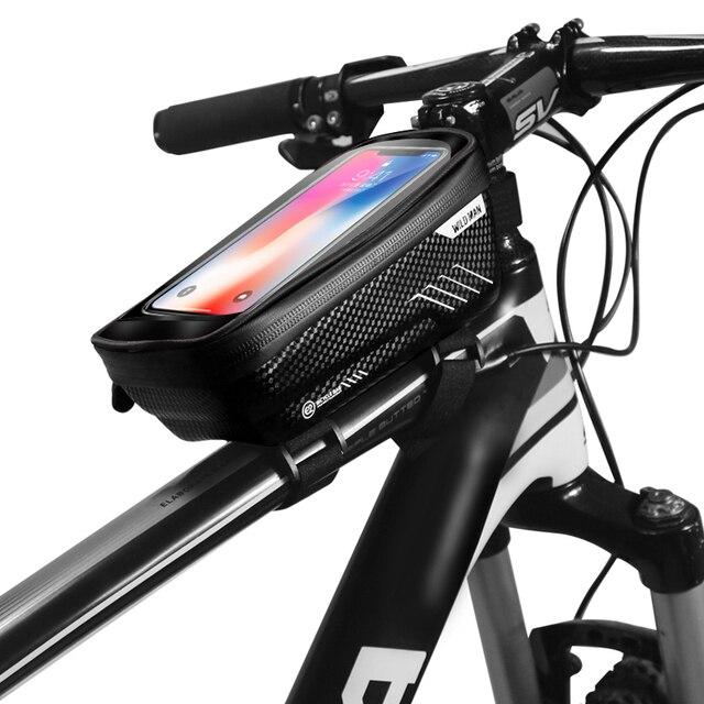 """WILDMAN MTB bolsa de bicicleta 6,2 """"Pantalla táctil cuadro delantero de bicicleta teléfono móvil bolsa ciclismo impermeable Bolsa de tubo superior accesorios antipresión"""