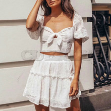Cuerly 2019 summer white lace crochet Embroidered dress women boho beach short sleeve party two pieces set mini dresses