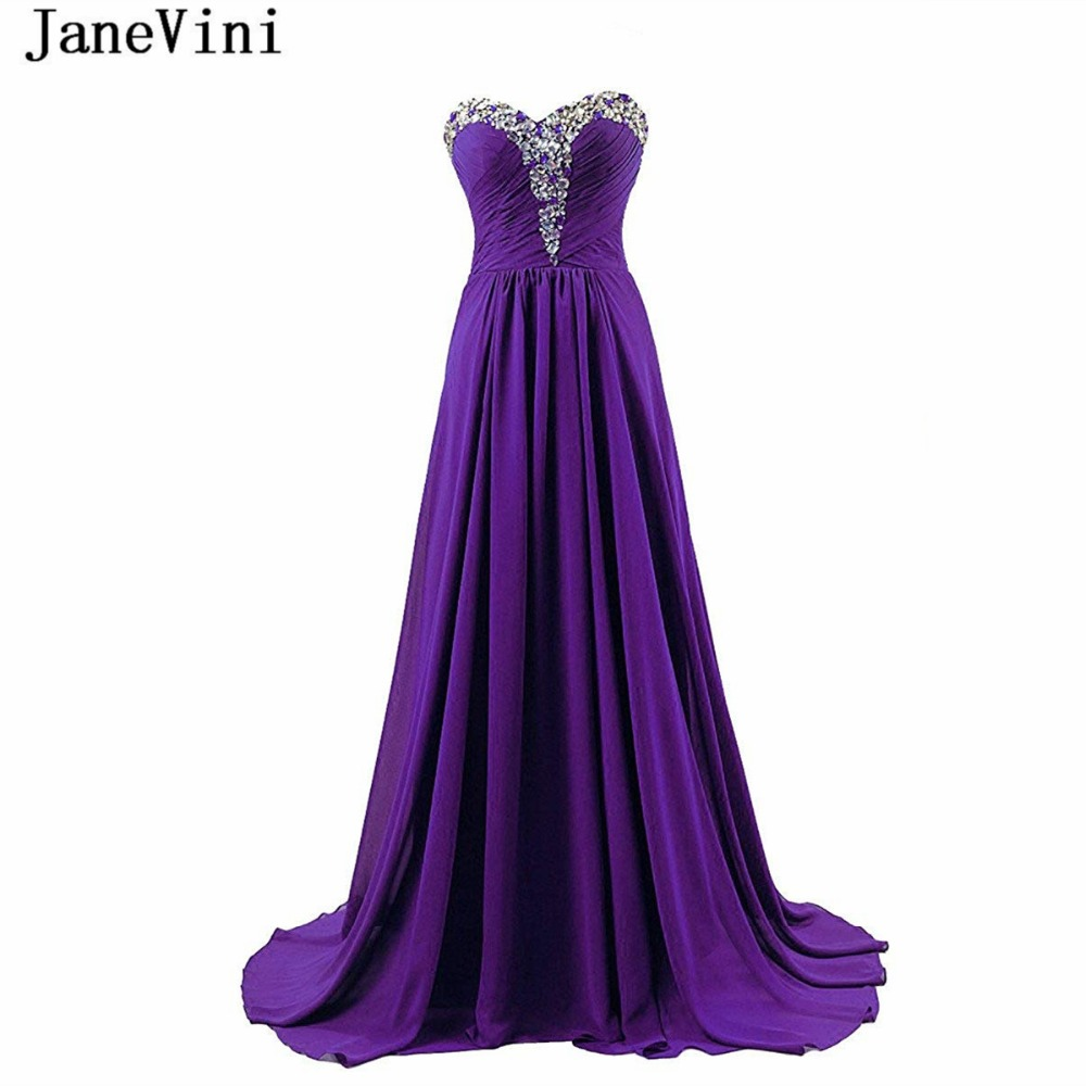 JaneVini Sexy Purple A Line Long   Bridesmaid     Dresses   Sweetheart Crystal Beaded Sleeveless Chiffon Sweep Train Wedding Party Gowns