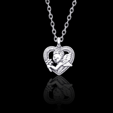 Fashion Creative DIY Ancient Silver Alloy Cupid Heart Pendant Necklace Woman Charm Cutout Male and Female Couple Jewelry Gift new i love football fencing helmet charm pendant necklace alloy ancient silver fashion women
