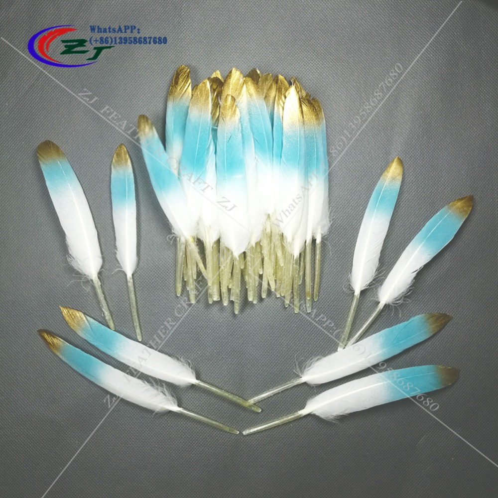 Hot Sale 100pcs White/Blue With Gold Color Goose/Duck Feathers 10-15cm/4-6inches Wedding Bouquet Decoration Craft For Home Decor