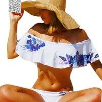Flower Print Ruffle Bandeau Bikini Set Padded Strapless Bikini Off Shoulder Swimsuit Women 2017 Swim Suit