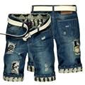 YONO Nueva Moda Hombre Jeans Pantalones Cortos de Mezclilla Verano Fit Punk Apenada Agujero Parche de Mitad de Longitud Breve Pantalones Cortos Masculinos de La Vendimia más Tamaño