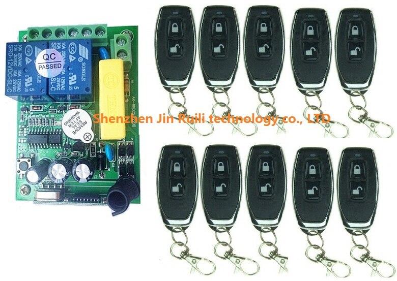 Nouveau AC220V 2CH 10A Télécommande Interrupteur Sortie Relais Radio Module Récepteur et 10 pièces Ceinture boucle Transmetteur