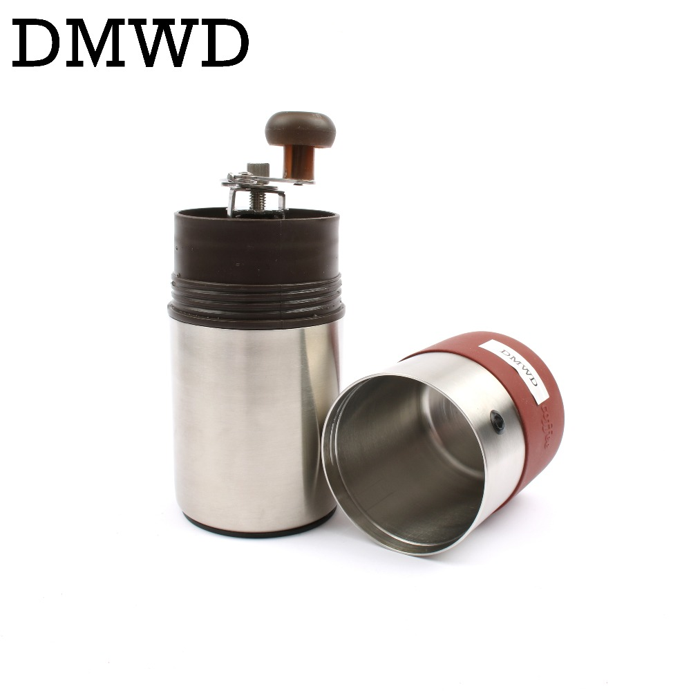 DMWD Manual Black Coffee Maker hand pressure espresso machine mini coffee bean grinder outdoor Travel portable coffee pot Bottle цена 2017
