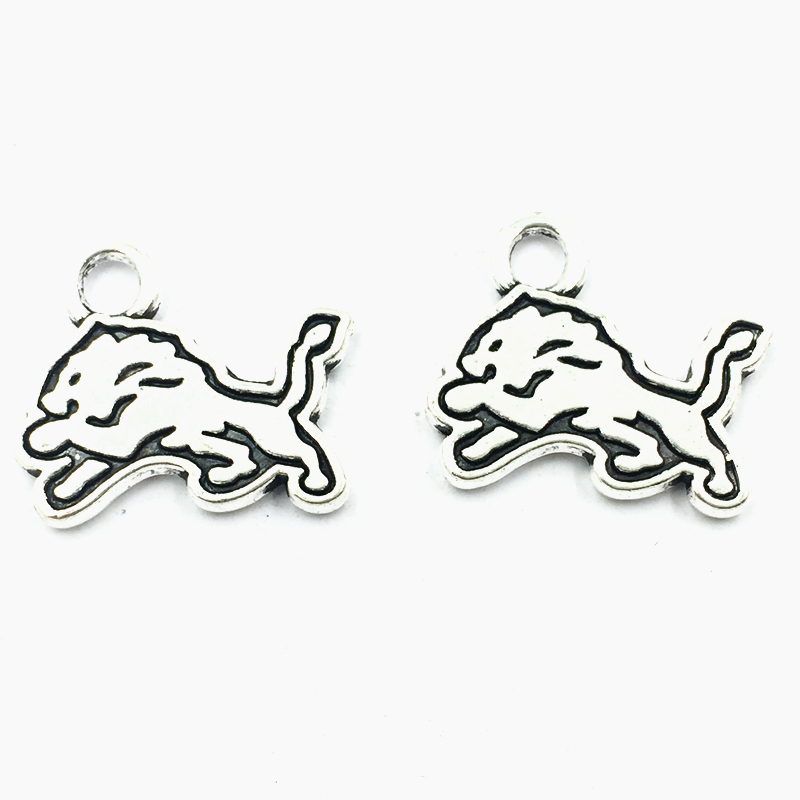 30Pcs Silver Tone Male Lion Aniaml Metal Pendants For Necklaces Craft Jewelry Accessoris DIY Findings Charms 19x17mm